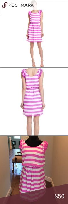 Lilly Pulitzer Danna Dress New worn, Lilly Pulitzer Danna Awning Pansy Purple Stripe Dress. Size XL, Fully lined Lilly Pulitzer Dresses