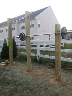 My outdoor workout space with squat rack and pull -up bar. Outdoor Pull Up Bar, Outdoor Gym, Outdoor Workouts, Outdoor Fitness, Home Gym Garage, Diy Home Gym, Backyard Gym, Backyard Playground, Patio Under Decks