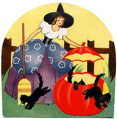 vintage Halloween woman in witch costume, pumpkin, black cats, fence, art deco favorites Retro Halloween, Vintage Halloween Cards, Halloween Owl, Halloween Prints, Vintage Holiday, Holidays Halloween, Vintage Cards, Halloween Decorations, Happy Halloween