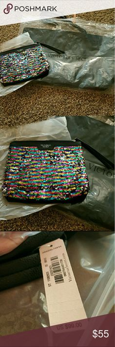 VS large tote with Mini bag New in plastic  (just took out mini bag for pictures) mini bag is sequins. Really amazing tote and bag set. Thanks for shopping myposh! PET FRIENDLY HOME Although I keep my pets away their hair may not stay away. Victoria's Secret Bags Totes