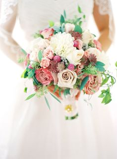 dainty summer bouquet with a floral mix including roses by Holly Chapple Flowers http://www.hollychappleflowers.com/
