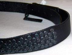 JOE'S Jeans Studded Shadowbox Belt - Blk leather/rivets studs