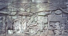 Market scene on a bas-relief on the south outer gallery at the Bayon, Angkor. Image by User: Khmer Empire, Gypsy Living, Asian History, Angkor Wat, Sculpture, Fish Art, Writing Inspiration, Travel Style, City Photo
