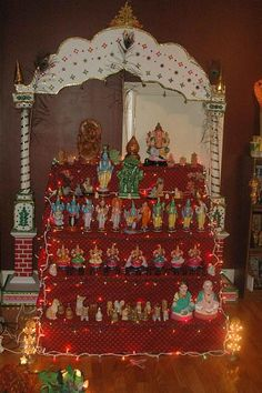 The Navratri Golu can be kept between three and nine days, and the assembly of dolls is worshipped twice each day. Wedding Gift Wrapping, Wedding Gifts, Diy Golu Dolls, Navratri Puja, Festivus, Beautiful Rangoli Designs, Art Drawings For Kids, Painted Chairs, Festival Decorations