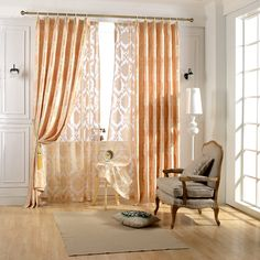 Luxury Light Golden Window Curtain For Living Room