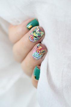 Marine Loves Polish: Studs x flowers water decals nail art