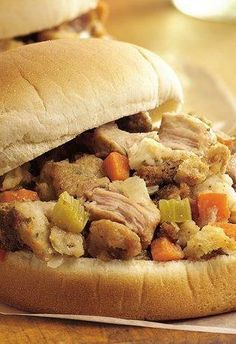 Just in time for those Thanksgiving leftovers!  Slow Cooker Turkey and Dressing Sandwiches.  Via Betty Crocker