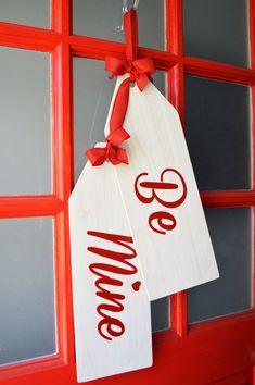 Valentine's Day Wreath, Be Mine Door Hanger Tags, Modern Rustic Handmade Decor