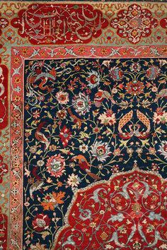 """Salting carpet,"" wool, silk, and metal lamella Iran; I love the rich colors & intricate patterns of these traditional rugs. Dark Carpet, Modern Carpet, Cost Of Carpet, Rugs On Carpet, Carpets, Cheap Carpet Runners, Carpet Stairs, Magic Carpet, Traditional Rugs"