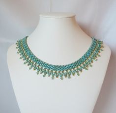 Turquoise et Twin tissés perle collier vert par IndulgedGirl, $50.00