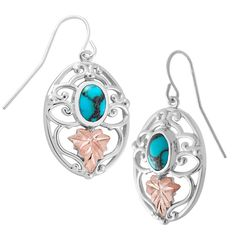 Sterling on Black Hills Gold Turquoise Earrings