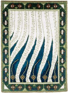 Finnish Art Nouveau rug Liekki design by Akseli Gallen-Kallela to Paris World Fair (1900).