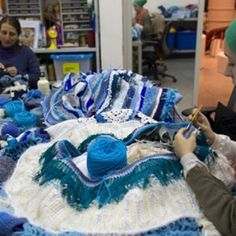 Crocheting some of the sculptural elements of 'Trafaria Praia' (see next) for the Venice Biennale. Joana Vasconcelos.