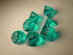 Chessex RPG Dice Sets: Teal/White Translucent Polyhedral 7-Die Set