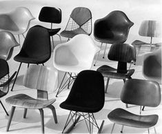 """Eames — """"A Selection of Chairs from the Office of Charles and Ray Eames (1952). Charles and Ray Eames pioneered modern furniture and industrial design beginning in the 1940s."""""""