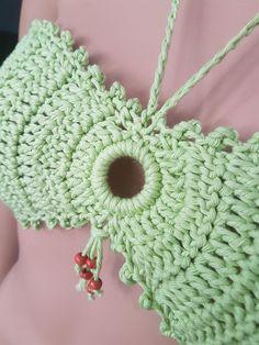 Ready for shipping Handmade Crochet Sunbathing Sexy Bikini. Ready for shipping Crochet Bra, Crochet Bikini Top, Crochet Slippers, Crochet Necklace, Sexy Bikini, Bikini Tops, Crochet Bathing Suits, Crochet Fashion, Crochet Projects