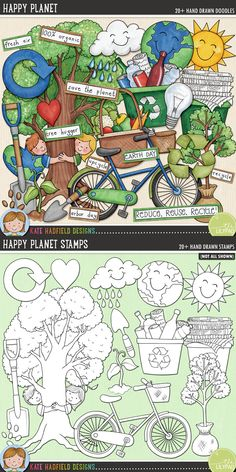 Earth Day / recycling digital scrapbooking elements   Cute green clip art   Hand-drawn illustrations for digital scrapbooking, crafting and teaching resources from Kate Hadfield Designs! Click through to see projects created using these illustrations!