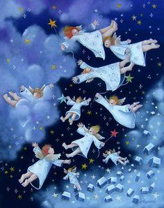 Volare oh oh! Christmas Illustration, Illustration Art, Karla Gerard, Christmas Tale, Artist Loft, Winter Magic, Angel Cards, Naive Art, Sacred Art