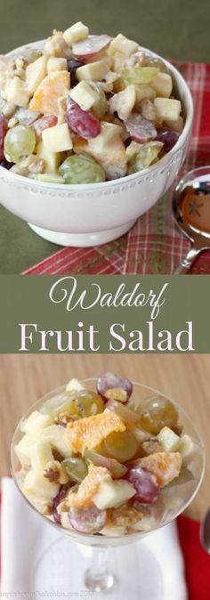 """Waldorf Fruit Salad is a sweet and juicy mixture of seasonal fruits lightly coated with a honey Greek yogurt """"dressing"""" and some toasted walnuts for crunch."""