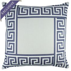 Linen pillow with a Greek key border. Handmade in the USA.   Product: PillowConstruction Material: Linen cover