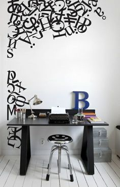 """$188 - *Turned with letters on ceiling edge* 8'8""""x5'10"""" - Alphabetting Mural  (P130401-4) - Mr Perswall Wallpapers - A random shape made from letters of the alphabet and punctuation marks – in black on white – a clean, sophisticated contemporary look. Total mural size 180cm wide and 265cm high.  Paste the wall"""