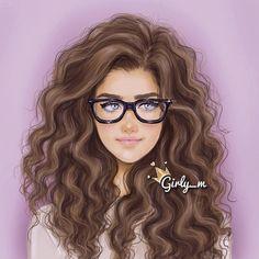 Curly Hair and Glasses #GirlIllustration / Capelli mossi e occhiali #IllustrazioneRagazza - Art by girly_m, on Websta (Webstagram)