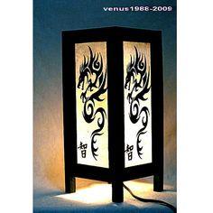 Oriental zen bedside table lamp wood, night light lighting shades Dragon TBM30
