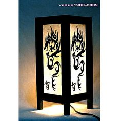 Oriental zen bedside table lamp wood, night light lighting shades Dragon TBM30