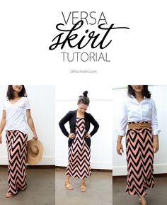 delia creates: Versa Skirt TUTORIAL (maxi skirt to dress) Sewing Patterns Free, Free Sewing, Clothing Patterns, Dress Patterns, Sewing Diy, Coat Patterns, Estilo Fashion, Look Fashion, Diy Fashion
