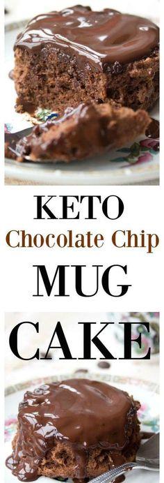 Keto Chocolate Chip Mug Cake! - Low Recipe--enough for 2 mug cakes Desserts Keto, Desserts Sains, Keto Snacks, Keto Sweet Snacks, Chocolate Chip Mug Cake, Keto Chocolate Chips, Cake Mug, Keto Mug Cake, Low Carb Deserts
