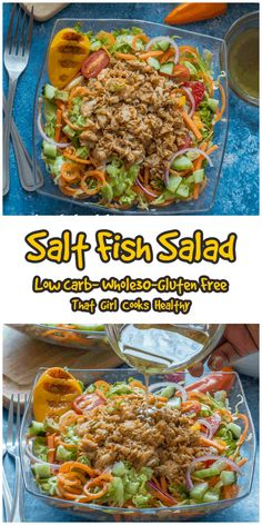 This delicious Caribbean inspired salt fish salad is perfect for promoting weight loss or to simply cleanse your palate. It's low carb yet still tasty and flavoursome so don't be fooled. Shredded lettuce, cucumber, onions, carrots, tomatoes, peppers and avocado (pear) are tossed with some sautéed salt fish. Healthy Salt, Healthy Cooking, Caribbean Food, Caribbean Recipes, Best Lunch Recipes, Whole Food Recipes, Salt Fish Recipe, Avocado Pear, Types Of Salad
