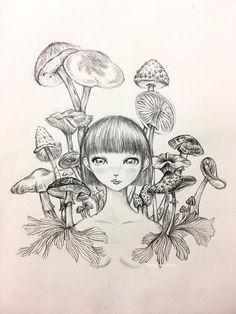 Linggo surreal drawing Mushroom Girl Wall Art Wall Decor Art Poster Wild Mushrorm Fungi mushroom print surreal art dark art tattoo design Mushroom Paint, Mushroom Drawing, Surealism Art, Dark Art Tattoo, Dark Drawings, Kunst Poster, Feminist Art, Creepy Art, Botanical Drawings