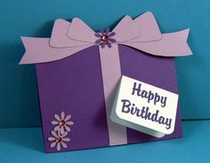 handmade card design ideas   Pretty Purple Paper Cake Birthday Greeting Card