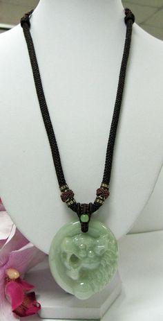 RARE HUGE Jade Carved Tiger Head Pendant Amulet Necklace