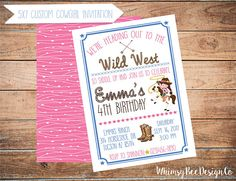 Adorable Cowgirl Party Invitation #cowgirlinviation #cowboyinvitation #cowgirlparty #cowboyparty #ranch #horse #cowgirlboots #pinkinvitation #cutepartyideas
