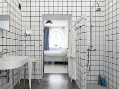White Bathroom Tiles With Black Grout to da loos: bathrooms with white square tiles and dark grout lines