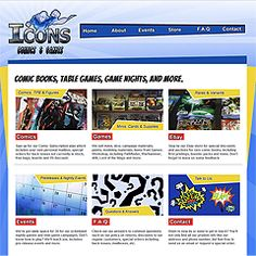 Website design for brand Icons Comics & Games, Elkton, MD