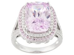 Bella Luce(R) 14.08ctw Pink & White Diamond Simulant Rhodium Over Sterling Silver Ring (9.13ctw Dew)