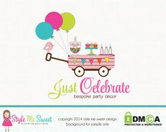 Premade Party Logo Candy Logo Cupcake Logo by stylemesweetdesign, $98.00