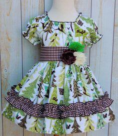 Peasant Dress featuring Alpine Wonderland fabric from Riley Blake Designs #rileyblakedesigns #alpinewonderland #christmas #holiday #gingham #trees