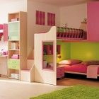 Green and Pink Kids Room Design with Wooden Furniture and Floor - Pink Kids Room Design Ideas