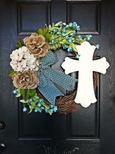 Easter Cross Wreath Christian Wreath Spring by AnnabelleEveDesigns