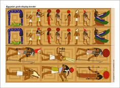 FREE Egyptian gods display borders 4 strips per page with low color printing option. (SB7869) - SparkleBox