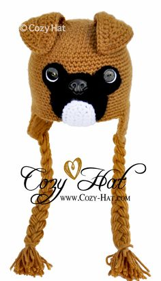 Boxer Hat is fantastic and looks great on boys or girls! Hand Crocheted with soft acrylic yarn to keep you warm and cozy. Great as a gift or part of your costume.