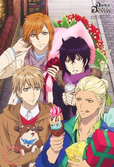 Dance with Devils (ダンス ウィズ デビルス)The guys of Dance with Devils do a little holiday shopping in this PASH! Magazine (Amazon US | JP) poster, but it looks like Mage Nanashiro wanted a little something for himself too! New art work by animation director Mio Araki (荒木美緒).