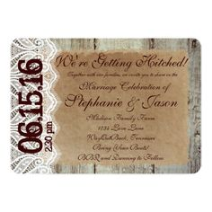 Getting Hitched Rustic Country Wedding Invitations #rustic #country #wedding http://www.zazzle.com/getting_hitched_rustic_country_wedding_invitations-161980563878047290?rf=238133515809110851&tc=PinterestMsPlnr