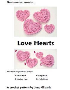 Love Hearts Motif By June Gilbank - Free Crochet Pattern - (ravelry)