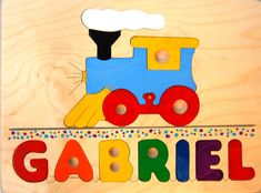 Personalised wooden name puzzles by tinyme this company has train with name wooden puzzle a great first birthday gift or toy for toddlers preschool age boys and girls who love choo choo trains negle Gallery