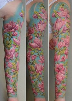 Magnolia full sleeve tattoo - 50 Magnolia Flower Tattoos