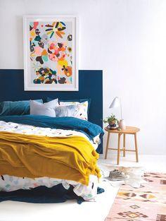 blue bedroom decor wall painting boho bedroom for kid funny bedroom nighslee memory foam mattress size mattress shopping Blue Bedroom Decor, Bedroom Paint Colors, Home Bedroom, Design Bedroom, Bright Bedroom Ideas, Playroom Colors, Bedroom Retreat, Mustard Bedroom, Painted Headboard